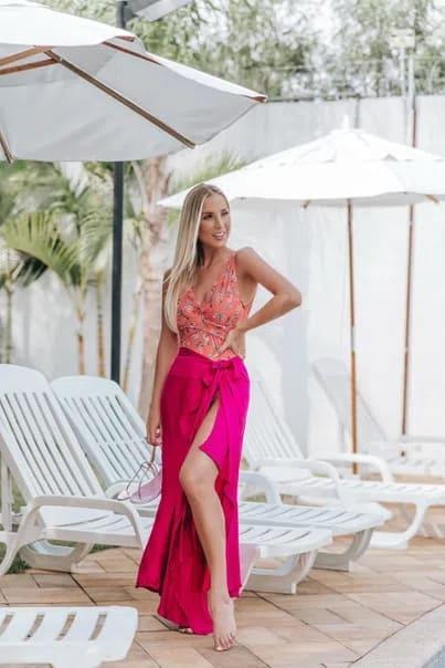 look com saia pareô pink