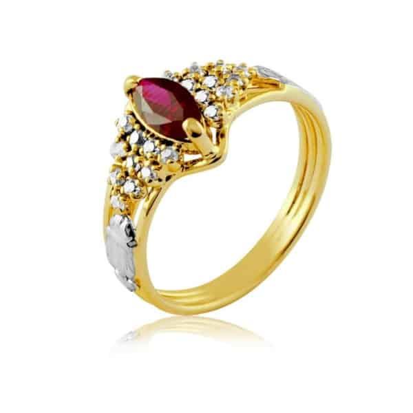 anel de formatura com pedra de rubi