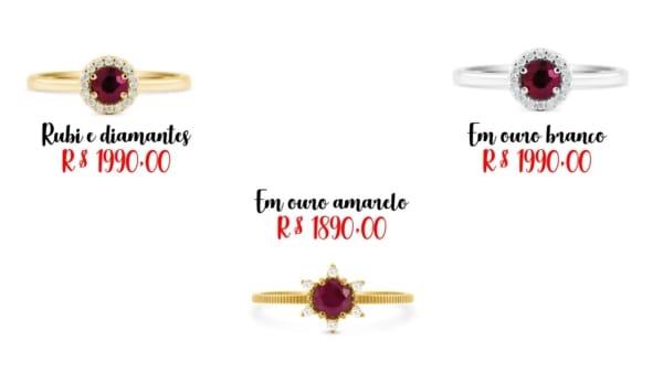 anel de rubi da vivara