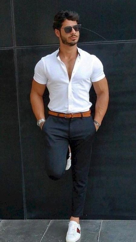 look masculino elegante com calça social e tênis