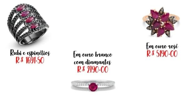 onde comprar e preços de anel de rubi