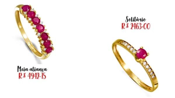 modelos e preços de anel de rubi