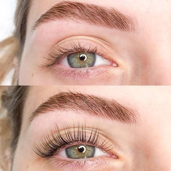antes e depois de lash lifting em cílios claros