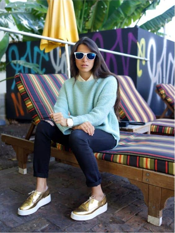 look com oxford flatform dourado