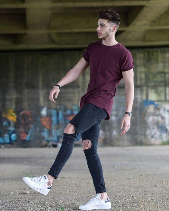 look masculino moderno com calça jeans destroyed