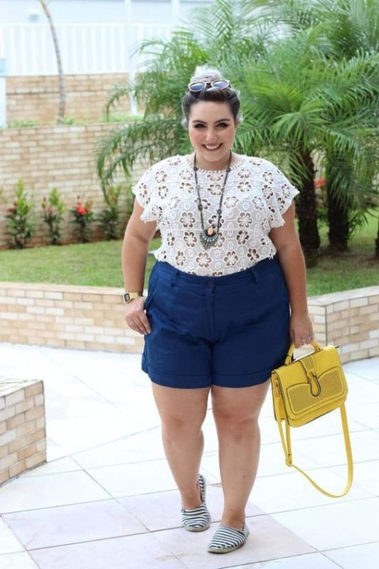 look plus size com short para churrasco