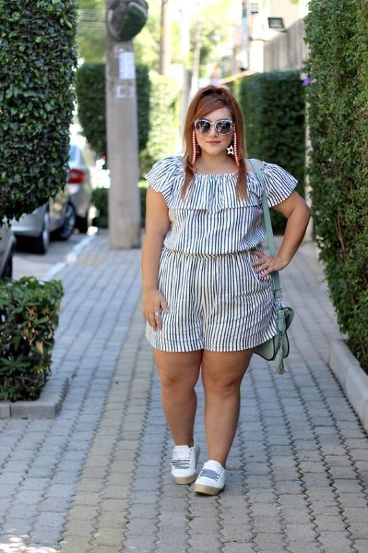 look plus size com macaquinho para churrasco