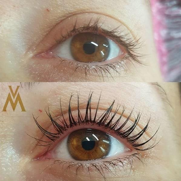 tratamento antes e depois para curvar os cílios