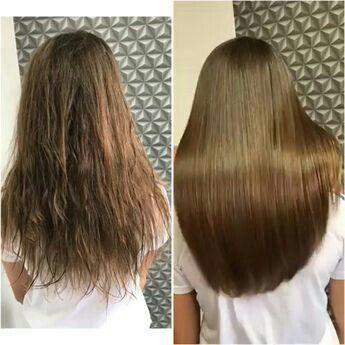 Antes e depois de cabelo armado