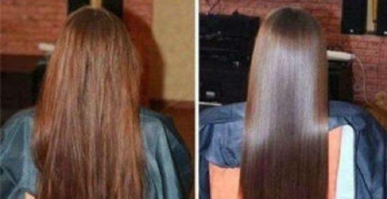 Antes e depois de cabelo liso armado