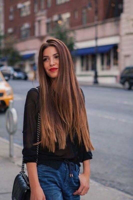 Ideia de cabelo longo castanho liso