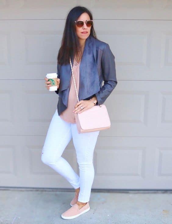 Look clean com slip on feminino rosa bebe