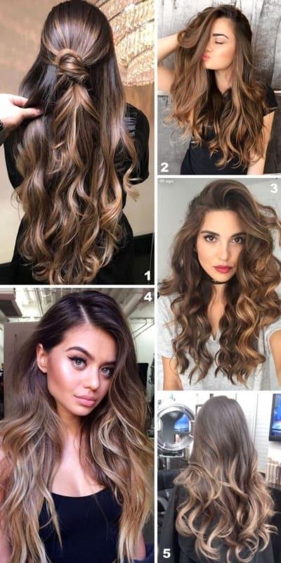Modelos de cabelos longos castanho iluminados