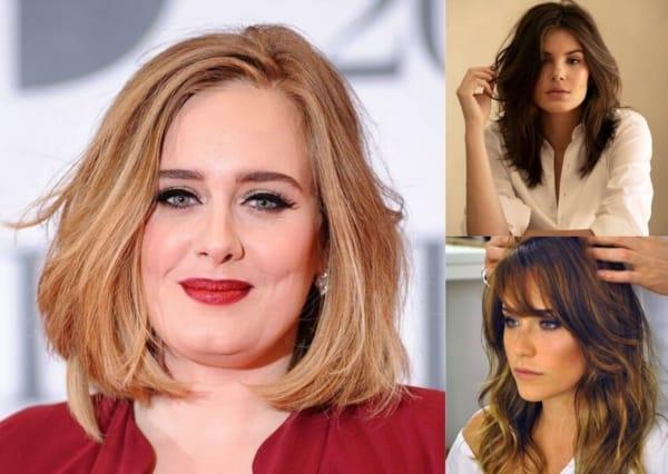 Montagem com foto de celebridades com cabelo repicado