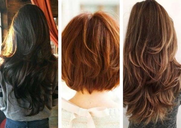 Montagem com fotos de mulheres com cabelo em camadas