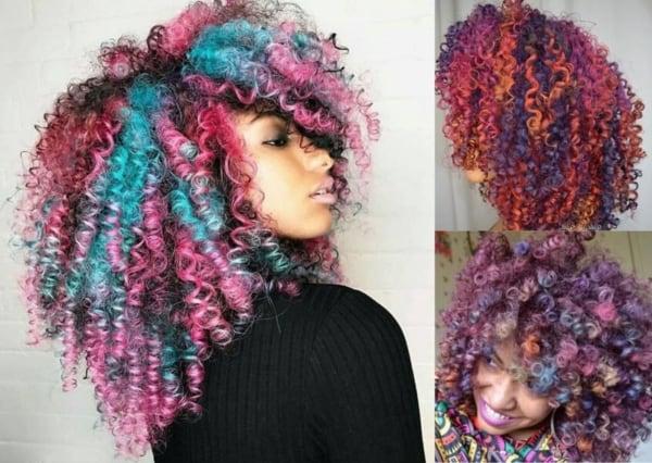 Montagem com fotos de três mulheres com cabelo colorido