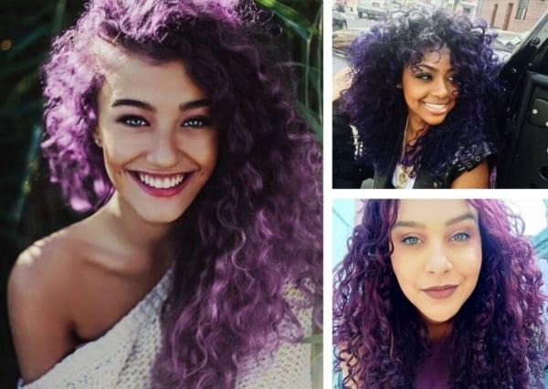 Montagem com fotos de três mulheres com cabelo roxo