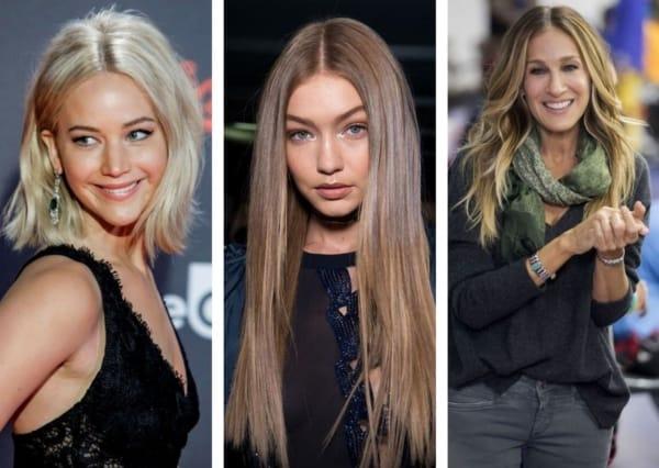 Montagem três fotos de famosas de rostos finos