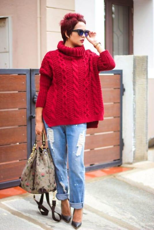 Pulôver feminino vermelho de tricô