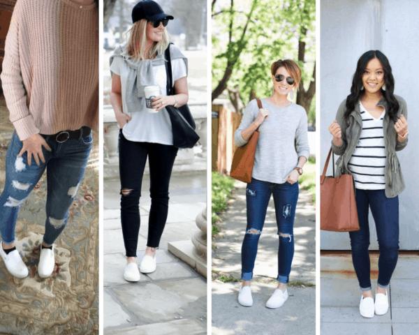 Quatro ideias de looks com slip on branco