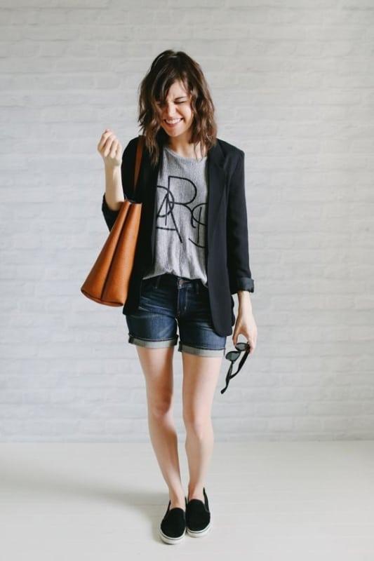 Short jeans blazer e slip on feminino preto