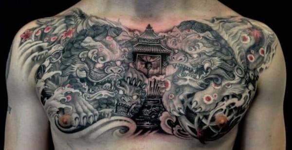 Tatuagem templo chines grande