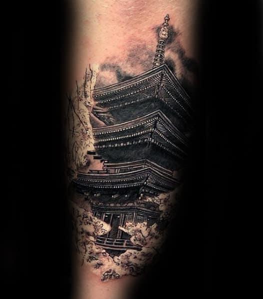 Tatuagem templo chines ideias