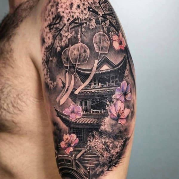 Tatuagem templo chines no braço