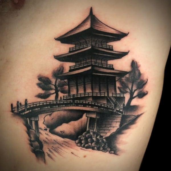 Tatuagem templo chines realista