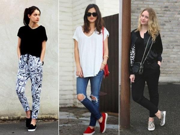 Três looks femininos criativos com slip on
