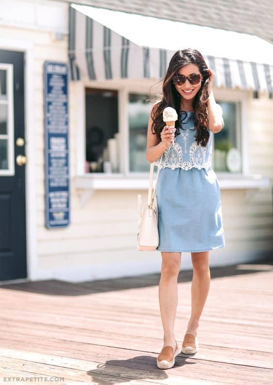 Vestido jeans romântico com slip on feminino caramelo