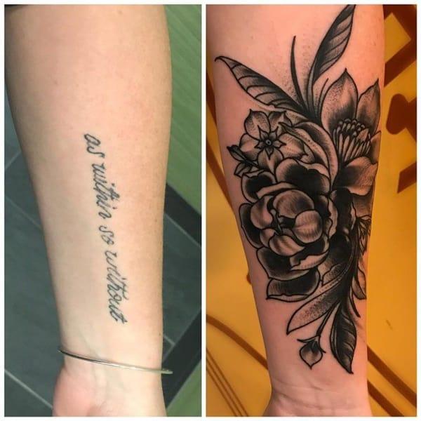 cobertura de tatuagem braço