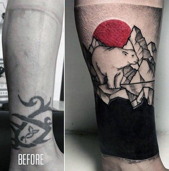 cobertura de tatuagem completa na perna