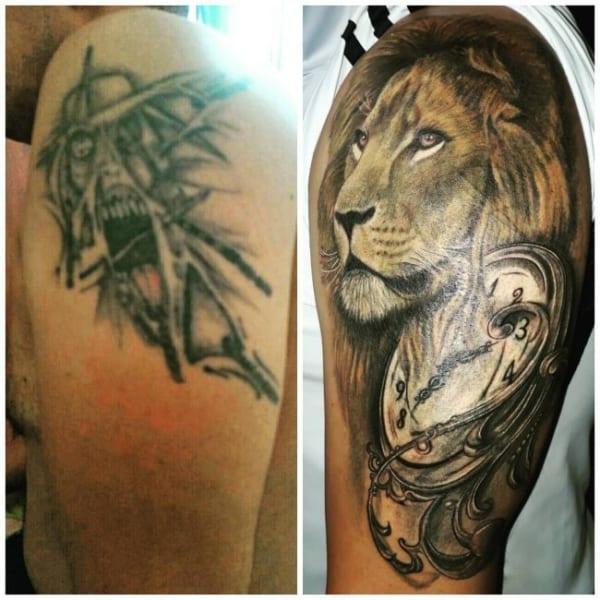 cobertura de tatuagem leao