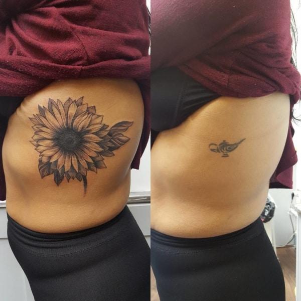 cobertura de tatuagem na costela