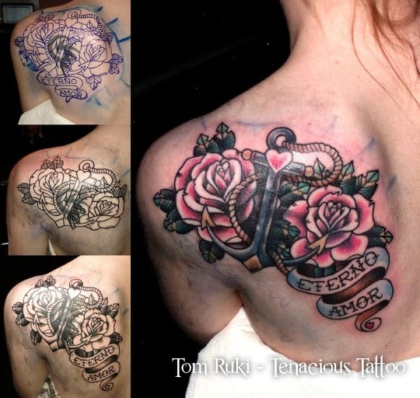 cobertura de tatuagem no ombro