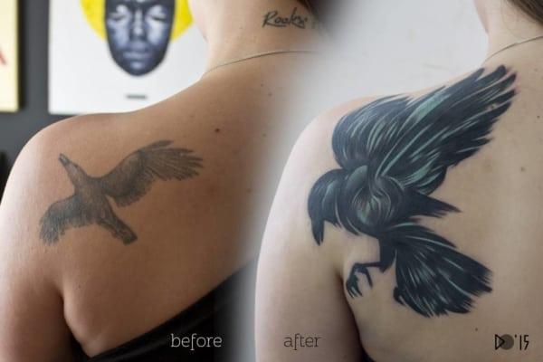 cobertura de tatuagem passaro