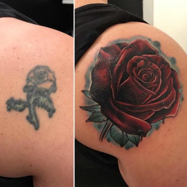 cobertura de tatuagem rosa