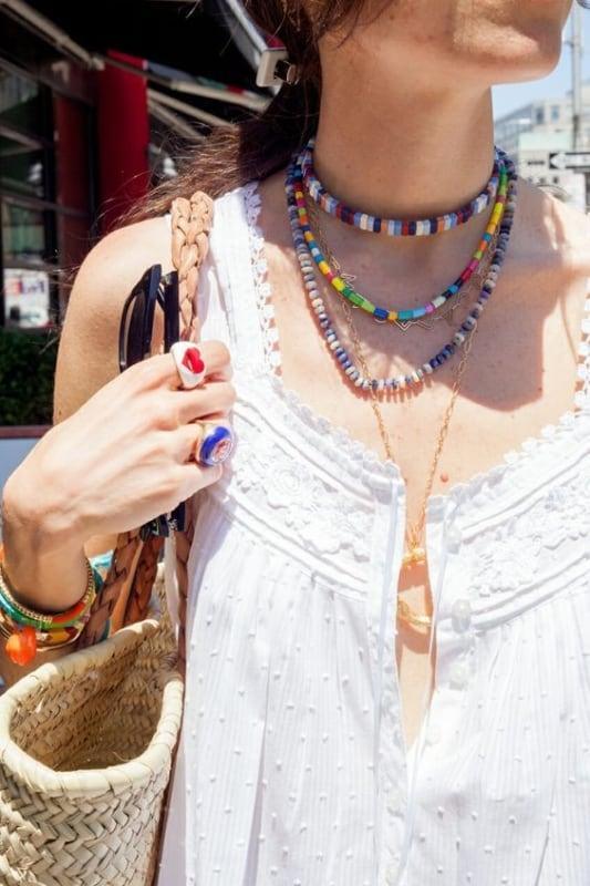 colar de miçangas moda hippie