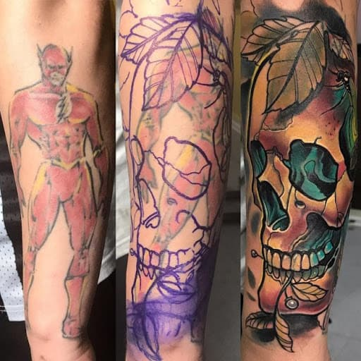 cover up tattoo caveira