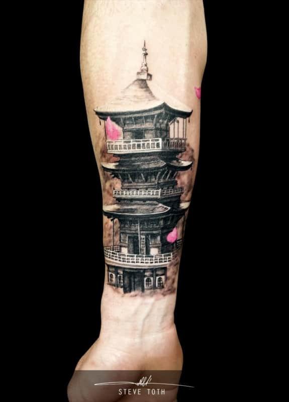 linda Tatuagem templo chines