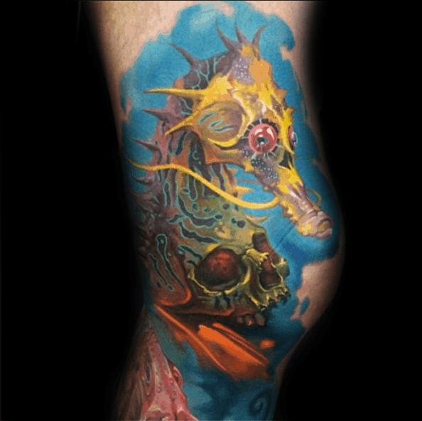 tatuagem cavalo marinho aquarela