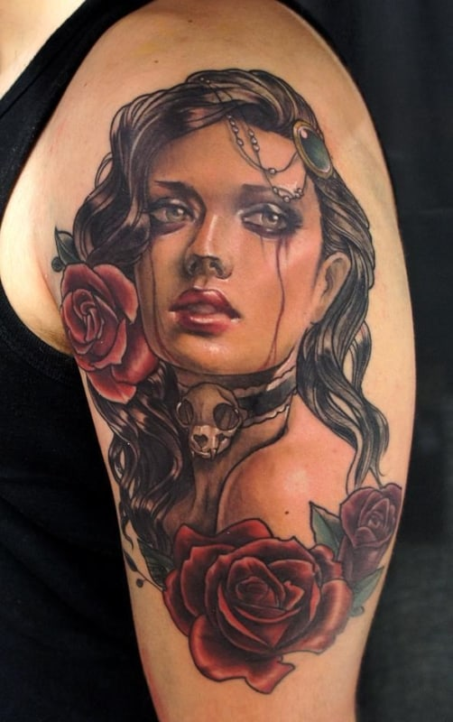 tatuagem cigana com rosas