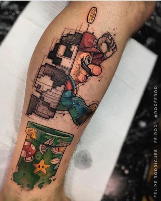 tatuagem geek do mario
