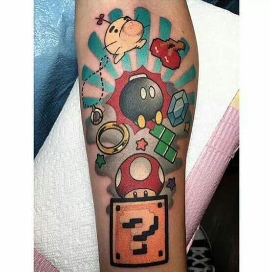 tatuagem geek mario