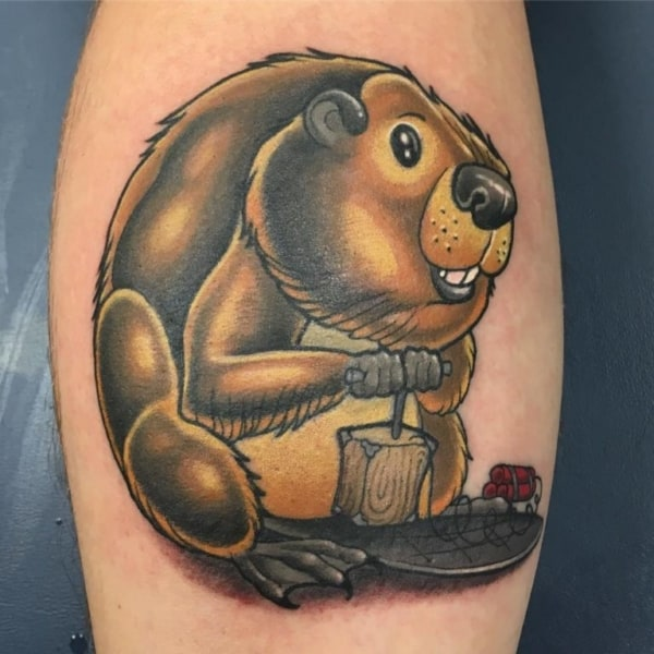 tatuagem new school castor