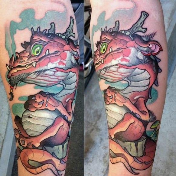 tatuagem new school dragão