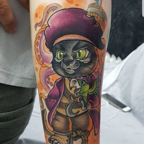 tatuagem new school gato