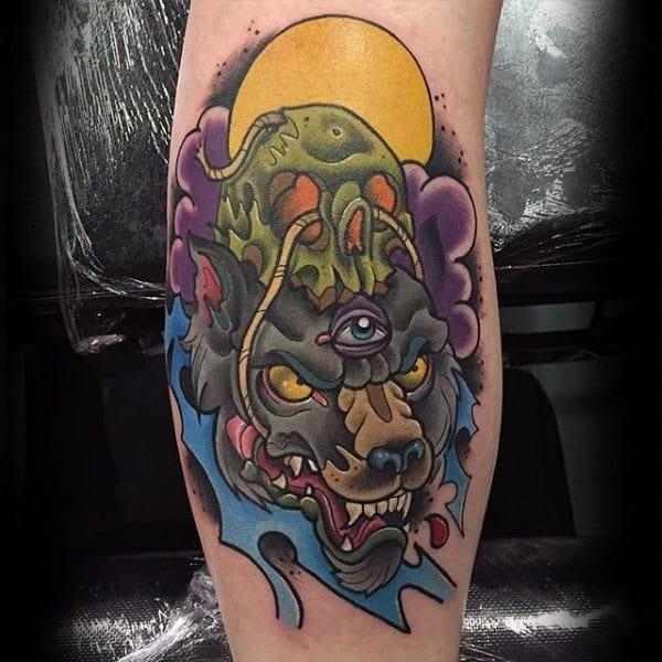 tatuagem new school lobo