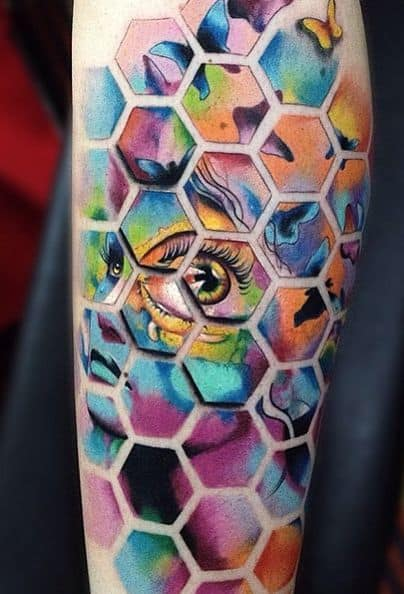 tatuagem psicodélica colorida